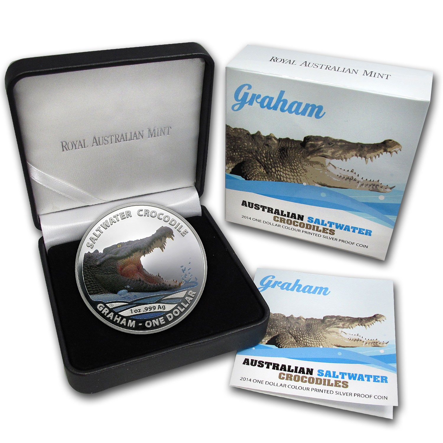 2014 Australia 1 oz Silver Crocodile Proof (Graham, Colorized)